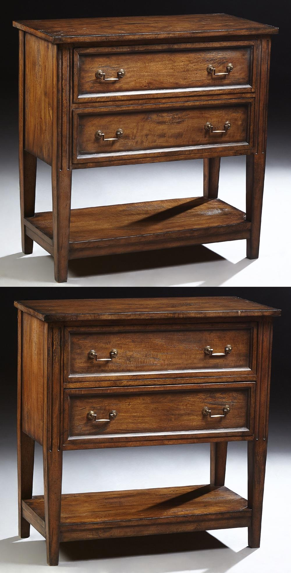 Pair of Diminutive Carved Mahogany Polychromed Chests,