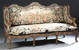 French Louis XV Style Parcel Gilt Walnut Settee, 19th