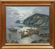 Mario Galanti 19231998 Italian Harbor Scene with