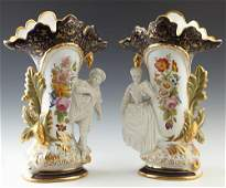 Pair of Old Paris Style Porcelain Figural Flare Vases