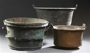 Group of Three Large French Copper Cauldrons, 19th c,