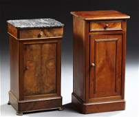 Two Louis Philippe Carved Walnut Nightstands, 19th c.,