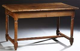 French Provincial Carved Walnut Farmhouse Table, early