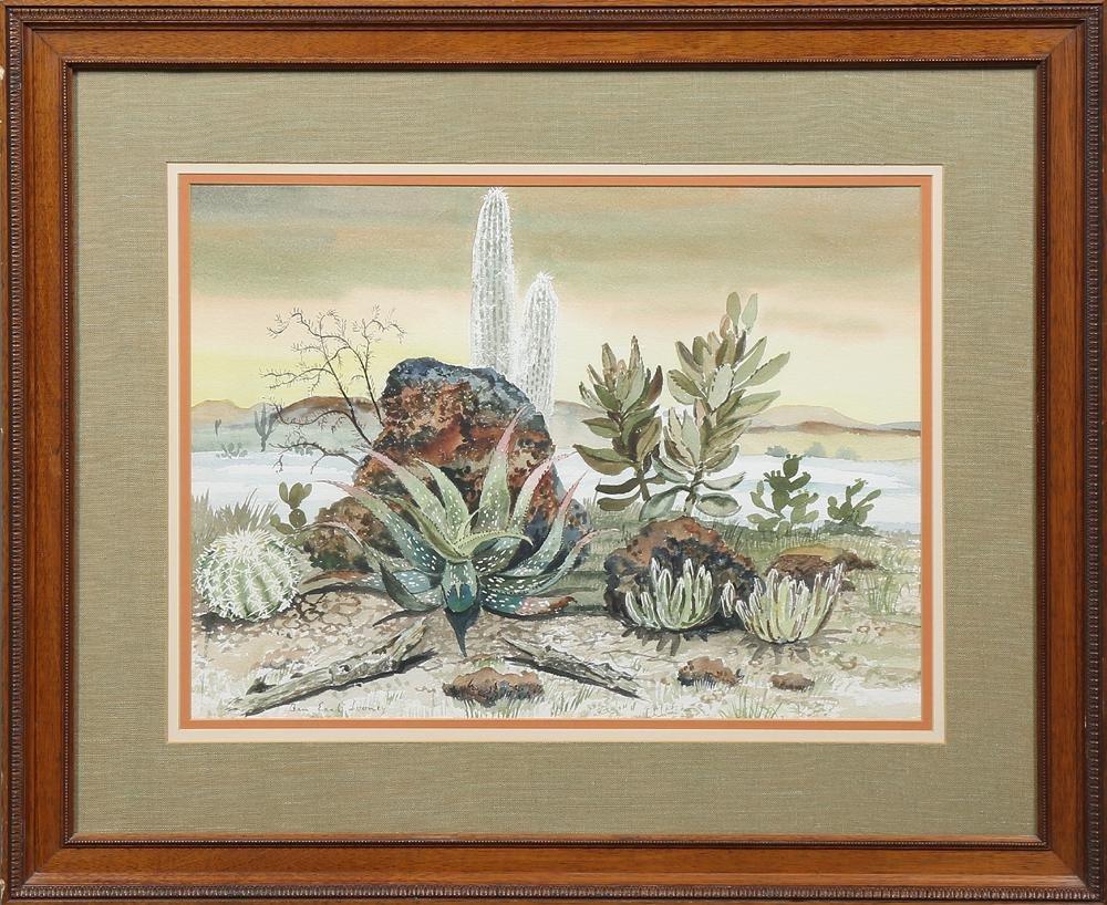 "Ben Earl Looney (1904-1981, Louisiana), ""Cactus Scene,"""