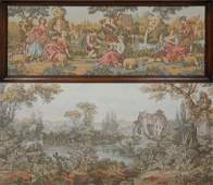 Two French Tapestries early 20th c one of lovers in