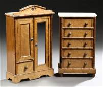 Two Pieces of French Children's Carved Walnut and