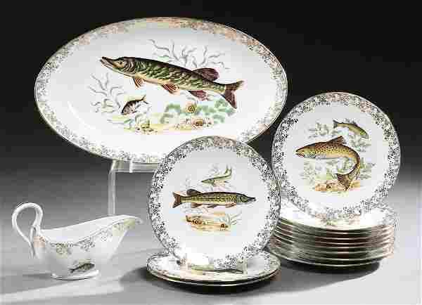 Fourteen Piece French Limoges Porcelain Fish Set, 20th