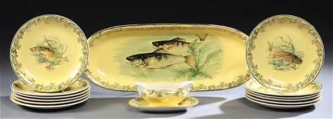 Fourteen Piece French Porcelain Fish Set, 20th c.,
