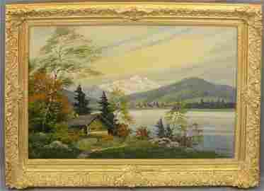 "Kofler, ""Mountain Lake Scene,"" 20th c., oil on canvas,"