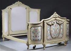 French Louis XV Style Polychromed Beech Double Bed,
