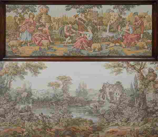 Two French Tapestries, early 20th c., one of lovers in