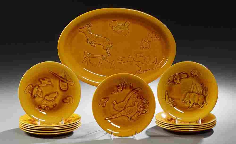 Thirteen Piece French Ceramic Dinnerware Set, 20th c.,