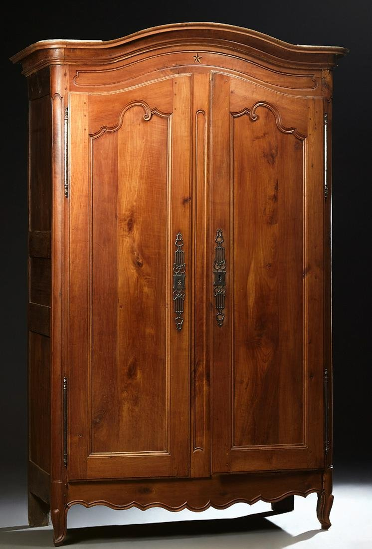 French Provincial Inlaid Carved Cherry Armoire, early