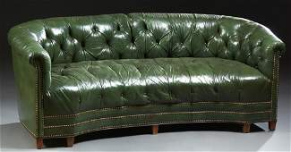 English Style Green Leather Chesterfield Sofa 20th c