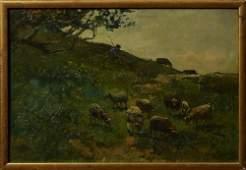 "Willem Steelink (1826-1913, Dutch), ""Shepherd and"