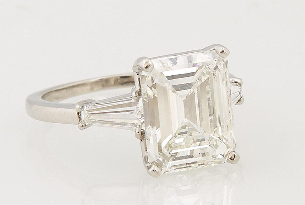Platinum Engagement Ring, with a 3.83 ct. emerald cut