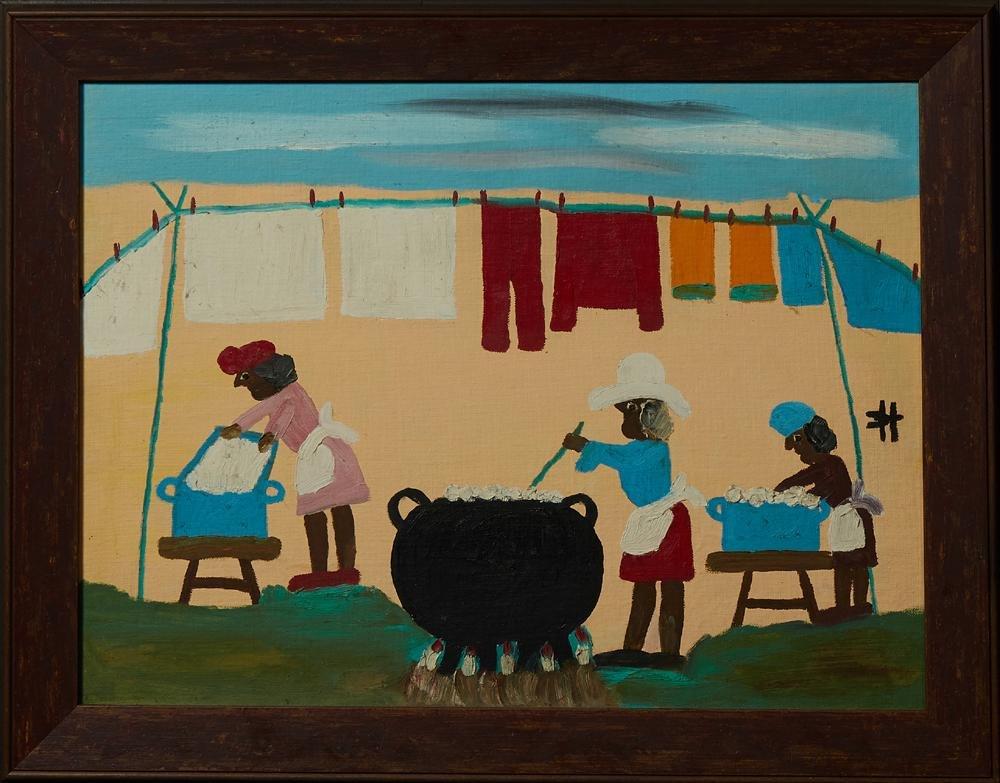 "Clementine Hunter (1886-1988, Louisiana), ""Wash Day,"""