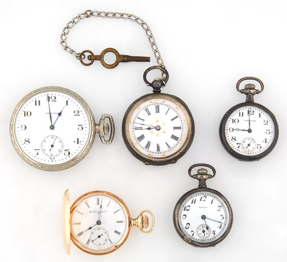 Group of Five Pocket Watches, consisting of a 14K