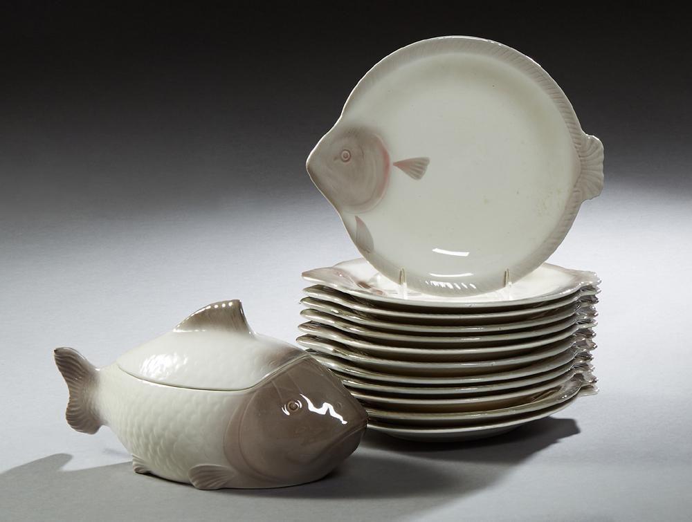 Thirteen Piece German Ceramic Fish Set, 20th c.,