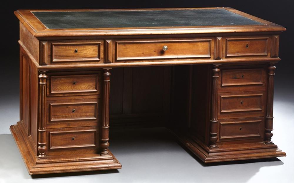 French Henri II Style Carved Walnut Desk, c. 1880, the
