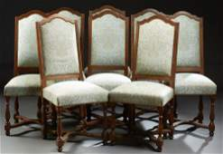 Set of Eight French Louis XVI Style Carved Walnut