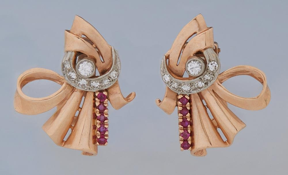 Pair of 14K Rose Gold Art Deco Ruby and Diamond Clip