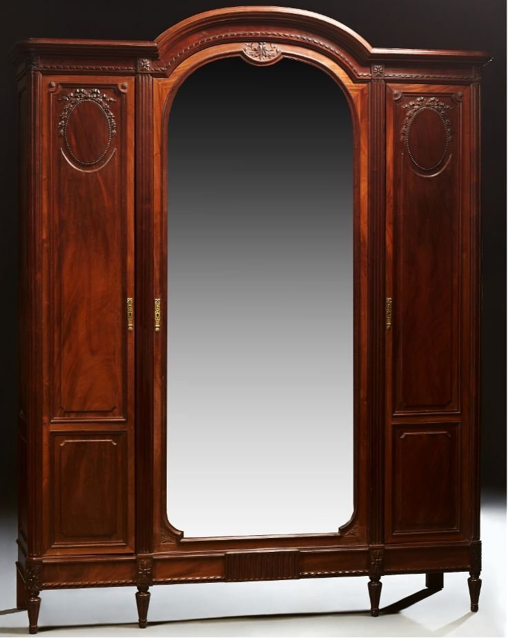 French Inlaid Walnut Armoire, c. 1890, the arched crest