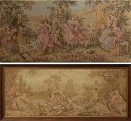 Two French Tapestries, 20th c., one with lovers in a