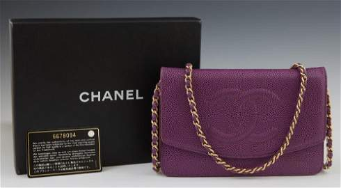 Chanel Purple Caviar Leather Wallet Purse, c. 2000,