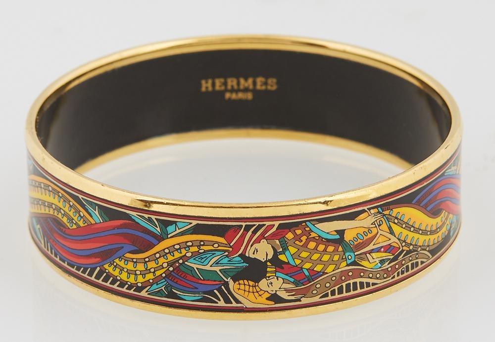 Hermes Wide Bangle Bracelet, with enamel black MC