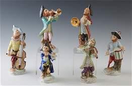 Six Piece Dresden Polychromed Porcelain Monkey Band,