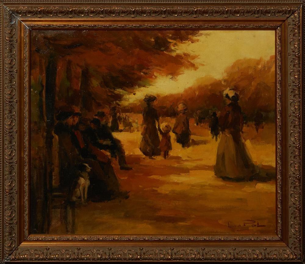 """Louis Van Der Pol (1896-1982, Dutch), """"Autumn Stroll in"""