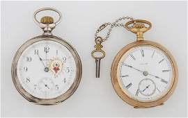 Two Pocket Watches consisting of a 14K yellow gold