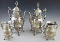Meriden Four Piece Silver Plate Tea and Coffee Service,