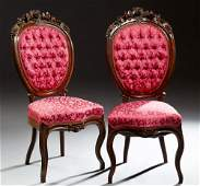 Pair of Victorian Carved Mahogany Side Chairs c 1870