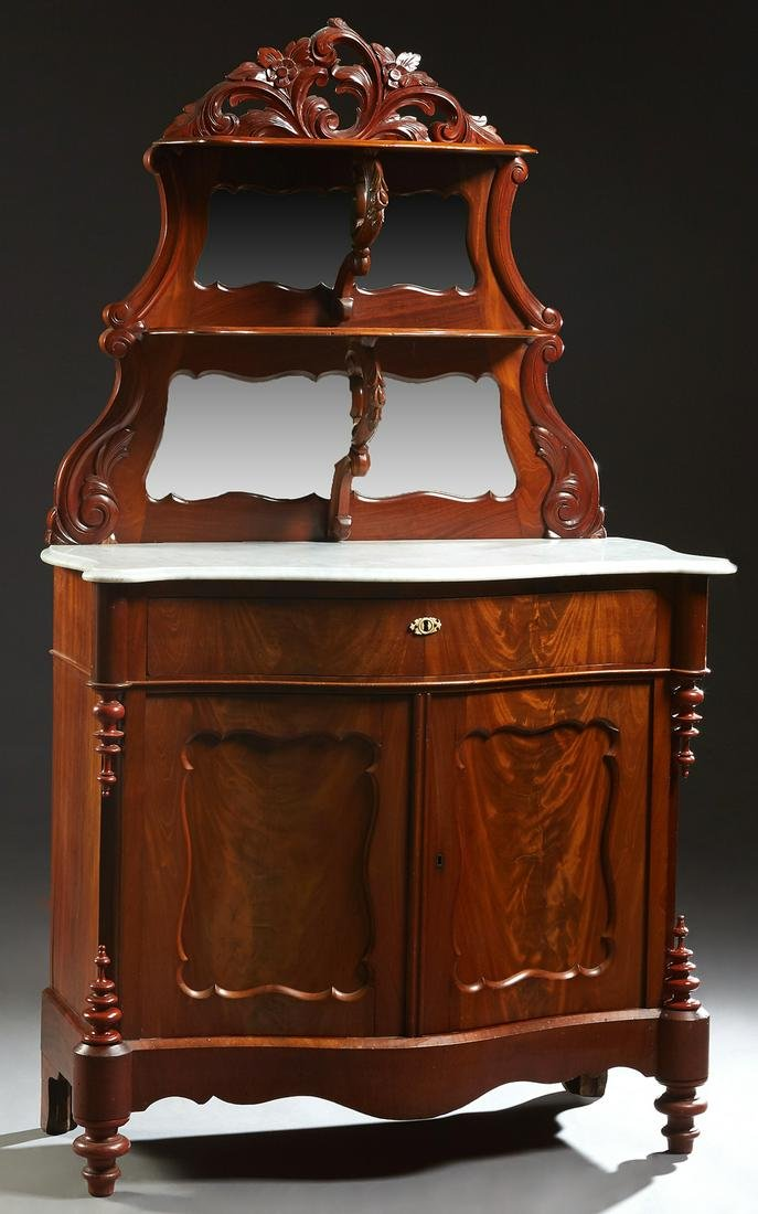 American Victorian Carved Walnut Marble Top Sideboard,