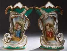 Monumental Pair of Old Paris Style Porcelain Flare