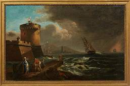 Italian School Harbor Scene with Departing Ship and