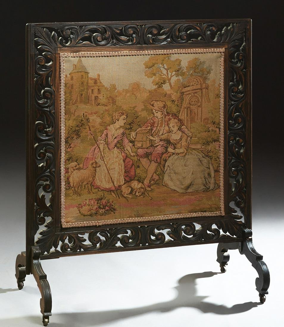 Ebonized Carved Wooden Fire Screen, c. 1890, with a