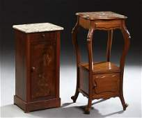 Two French Marble Top Nightstands 19th c consisting