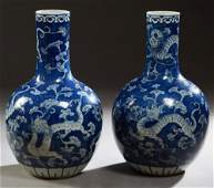 Pair of Large Chinese Blue  White Porcelain Baluster