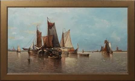 """Auguste Henri Musin (1852-1923, Belgian), """"Harbor Scene"""