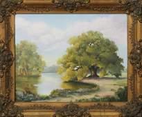 "Louisiana School, ""Oak Tree on a Bayou,"" oil on canvas,"