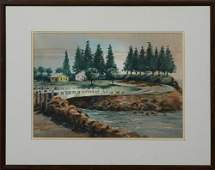 "Peter Briant (New Orleans), ""Bridge Across a Stream,"""