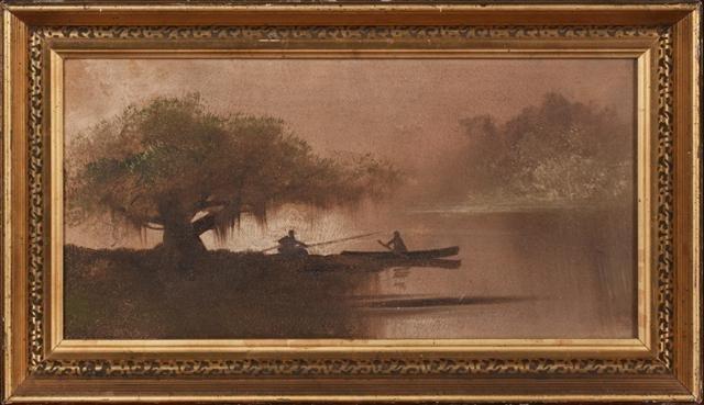 """Louisiana School, """"Bayou Scene with Boats,"""" early 20th"""