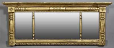 American Gilt Three Part Landscape Mirror, 20th c.,