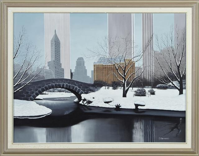 """D. Hayward, """"Central Park in Winter,"""" 20th c., oil on"""