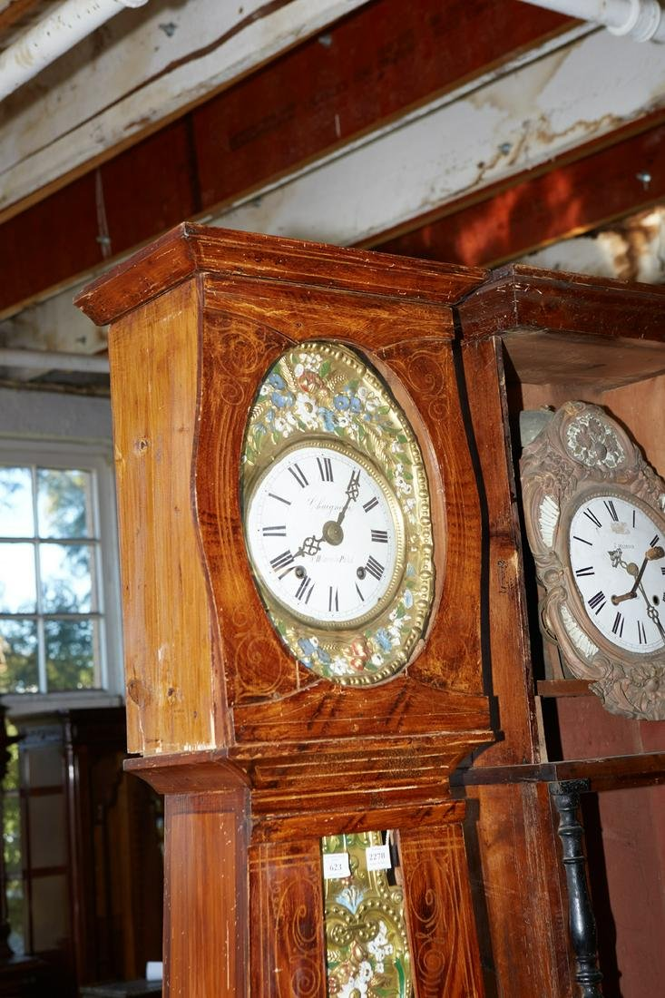 French Provincial Faux Bois Pine Tallcase Clock, 19th