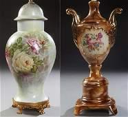 French Limoges Porcelain Covered Baluster Vase, early
