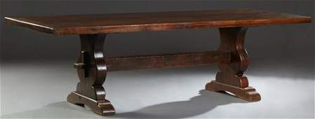 Large French Provincial Carved Oak Monastery Table,